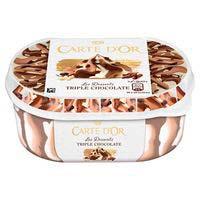 Helado triple de chocolate CARTE D'OR, tarrina 900 g