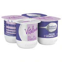 Llet fermentada natural edulcorat desnatat VITALINEA, 4x120g