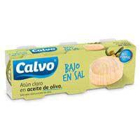 Calvo Atún claro aceite oliva bajo en sal lata 3x80g