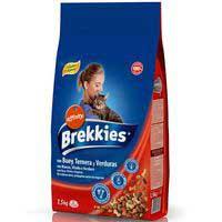 Mix de buey-ternera-verdura para gato BREKKIES, saco 1,5 kg
