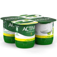 Activia de soja natural DANONE, pack 4x120 g