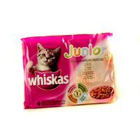 Whiskas Menjar gat junior sabors 4x100g