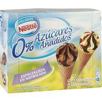 Nestlé Mini conos sin azúcar añadido vainilla y chocolate 6u 259ml
