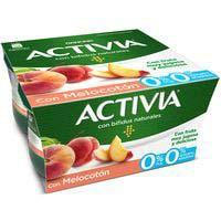 Activia 0% con melocotón DANONE, pack 4x120 g