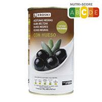 Eroski Olives negres amb os 185g