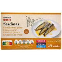 Eroski Basic Sardinas en aceite girasol 3/5 120g