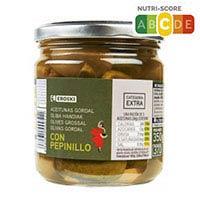 Eroski Aceitunas gordal con pepinillos 190g