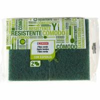 Eroski Estropajo verde con esponja 3u