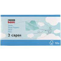 Pañuelo facial 2 capas EROSKI basic, caja 150 uds.