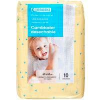 Protector para cama de bebé 60x60 EROSKI, paquete 10 uds.