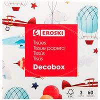 Mocador facial cub decoEROSKI, caixa 60 uts.