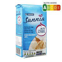 Harina de trigo con salvado EROSKI Sannia, paquete 500 g