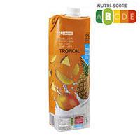 Eroski Zumo con leche tropical 1l