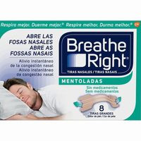 Breathe Right Tiras nasales mentoladas grandes 8u