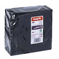 Tovallons negres 2 capes 33x33 Nupik, paquet 50 unitats.