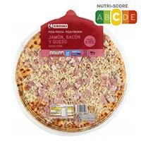 Eroski Pizza pernil-bacó formatge 580g