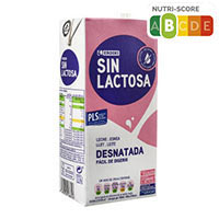 Eroski Leche desnatada sin lactosa brik 1l