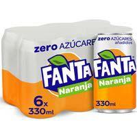 Fanta Zero Naranja lata pack6