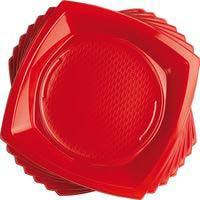 Plat vermell quadrat 23 cm Nupik, pack 20 unit.