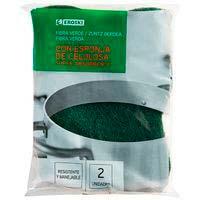 Estropajo de fibra verde c. esponja vegetal EROSKI, pack 2 unid.