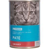 Eroski Comida gato paté buey lata 400g