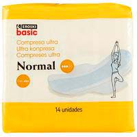 Compresa ultra alas normal EROSKI basic, paquete 14 uds.