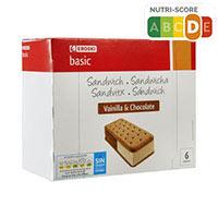 Eroski Basic Sandwich vainilla chocolate 6u 53g