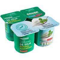 Yogur soja natural azucarado EROSKI, pack 4x125 g