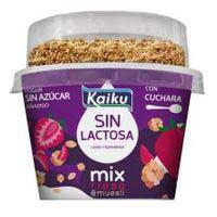 Preparado lácteo s/ lactosa fresa&muesli KAIKU, tarrina 132 g