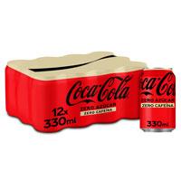 Coca Cola zero sense sucre i sense cafeïna llauna 12x33cl