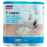 Papel higiénico blanco 2 capas EROSKI basic, paquete 18 uds.