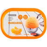 Sorbete de mandarina EROSKI, tarrina 615 g