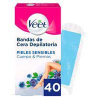 Veet Banda depilatoria Easy-Gelwax pieles sensibles 40u