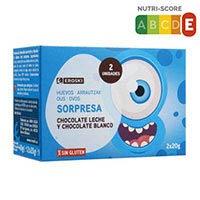 Eroski Huevos sorpresa de chocolate leche y blanco 2x20g