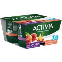Activia Yogur 0% con melocotón sin lactosa 4x125g