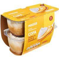 Eroski Copa vainilla, nata y caramelo sin gluten 4x115g