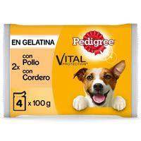 Alimento de pollo-cordero PEDIGREE, pack 4+2x100 g