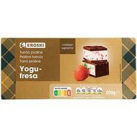 Turrón de praliné-yogur de fresa EROSKI, caja 200 g