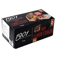 1901 Lote mini jamón curado, jamonero y cuchillo incluidos en la caja sin gluten 1u