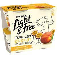 Danone Yogur desnatado triple zero melocotón-fruta pasión 4x125g