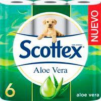 Papel higiénico de aloe vera SCOTTEX, paquete 6 rollos