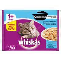 Alimento para gato de pescado WHISKAS Casserole, pack 4+2x85 g