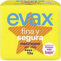 Evax Compresa fina&segura maxi-super sin alas 13u