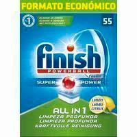 Lavavajillas pastillas limón FINISH Todo en 1, caja 55 dosis