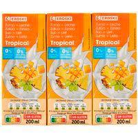 Lactozumo tropical EROSKI, pack 6x200 ml