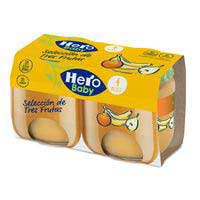 Potito de 3 frutas HERO, pack 2x120 g