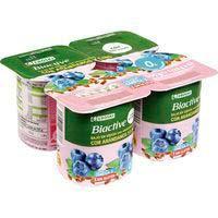 Biactive 0% azúcar 0% mg lino-arándanos EROSKI, pack 4x125 g