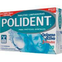 Tableta especial dentaduras postizas POLIDENT, caja 30 uds.