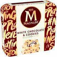 Bombón choco blanco&cookies MAGNUM, 3 uds., caja 222 g