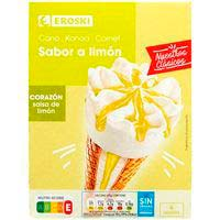 Cono de limón EROSKI, 4 uds., caja 260 g